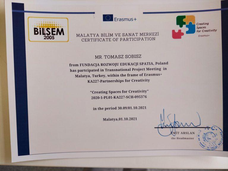 Certyfikat uczestnictwa w spotkaniu projektowym nauczycieli Liceum Banacha w Turcji